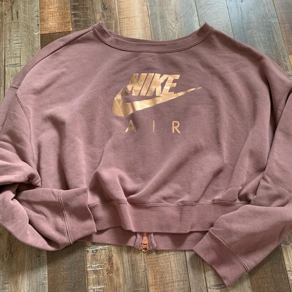 orientación escucha venganza  Nike Tops   Nike Crop Sweatshirt Zip Back Rose Gold Maroon   Poshmark
